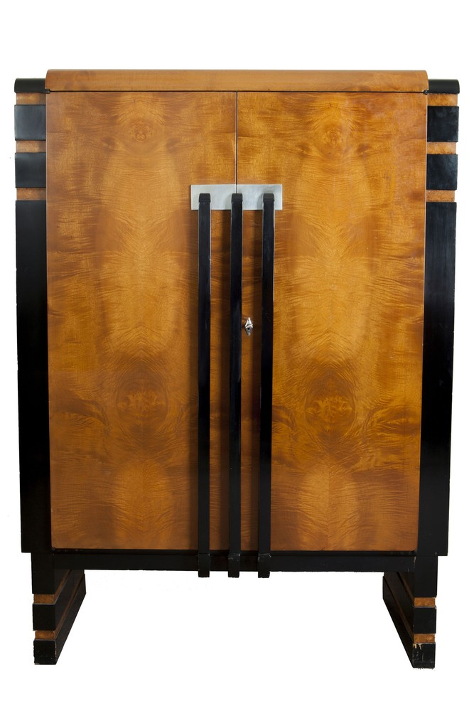 Donald Deskey Art Deco Walnut Burl China Cabinet For